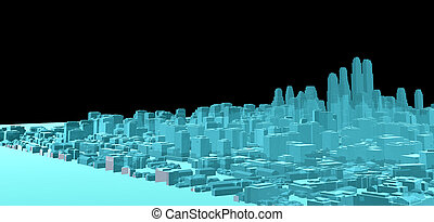 ville, image, moderne, noir, rayon x