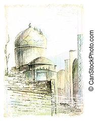 Ville, oriental. Soleil, vecteur, city., illustration,... clipart ...