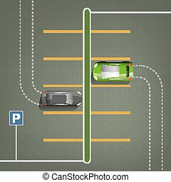 ville, image, stationnement