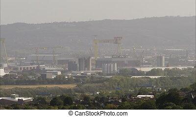 ville, industriel, coup, long, secteur