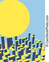 ville, industriel, town., résumé, illustration, dawn., horizon, vecteur, paysage