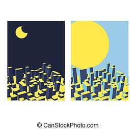 ville, industriel, town., set., illustration, jour, horizon, vecteur, nuit, paysage abstrait