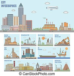ville, infographics., industrie