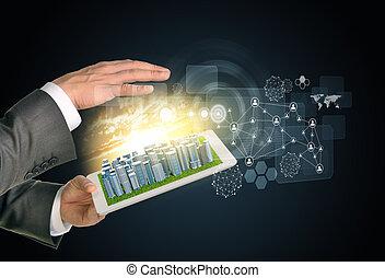 ville, informatique, toucher, réseau, homme, pc., business, screen., tablette, mains, utilisation