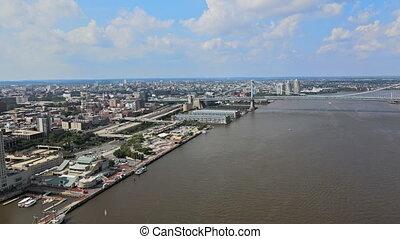 ville, infrastructure, promenade, philadelphie, routes, rivière, horizon, papa, pedestrians., autoroute, long, delaware, pont
