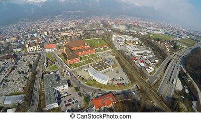 "ville, infrastructure, rocheux, moderne, mountains"", vue, routes, transport, ""top"