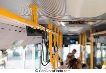 ville, intérieur, vue, passengers., autobus