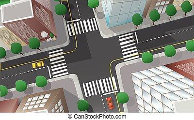ville, intersection, affiché, top.