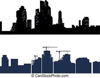 ville, isolé, deux, arrière-plan., silhouettes, noir, blanc