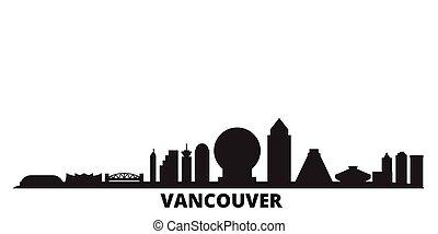 ville, isolé, noir, voyage, horizon, canada, illustration., vancouver, cityscape, vecteur