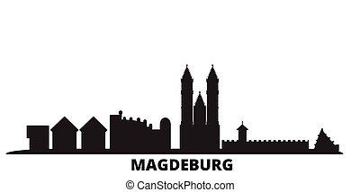 ville, isolé, noir, voyage, magdeburg, horizon, allemagne, illustration., cityscape, vecteur