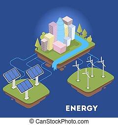 ville, isométrique, énergie, vert, alternative, ou
