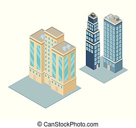 ville, isométrique, 3d