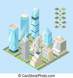 ville, isométrique, bâtiments., illustration, vecteur, 3d