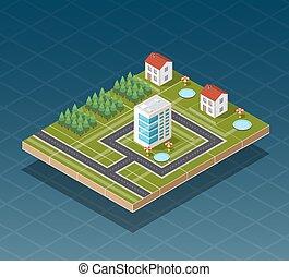 ville, isométrique, carte