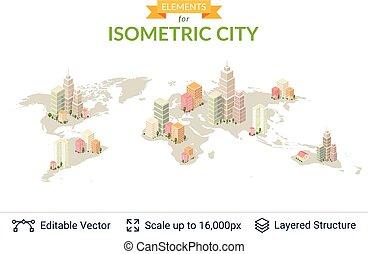 ville, isométrique, elements.