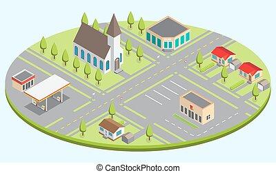 ville, isométrique, ensemble, bâtiments.