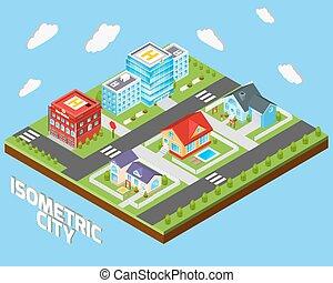 ville, isométrique, ensemble