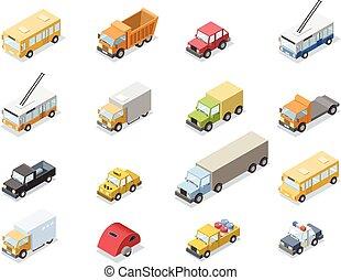 ville, isométrique, ensemble, icônes, voiture, vecteur, transport
