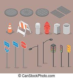 ville, isométrique, ensemble, objets, icône
