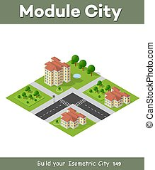 ville, isométrique, paysage, 3d