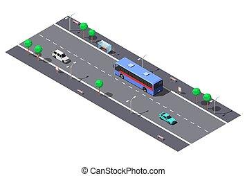 ville, isométrique, rue, 2-lane, autobus, illustration, vecteur, stop., route
