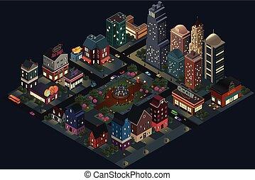 ville, isométrique, rues, bâtiments, conception, nuit