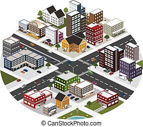 ville, isométrique, scène, grand