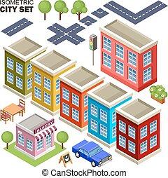 ville, isométrique, set.