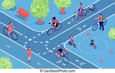 ville, isométrique, vélo, composition