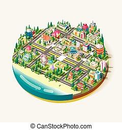 ville, isométrique, vecteur, centre, business