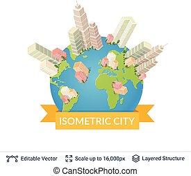 ville, isométrique, vecteur, elements.