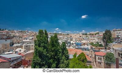 ville, israël, vieux, panorama, monter, timelapse, toit, hospice, autrichien, jérusalem, temple, hyperlapse
