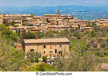ville, italie, célèbre, toscan, montalcino, vin