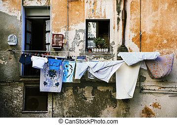 ville, italie, pendre, cagliari, vieux, vêtements