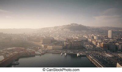 ville, italie, port, brumeux, day., aérien, naples, vue