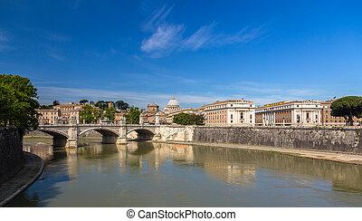 ville, italie, tiber, sur, -, rome, rivière
