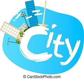 ville, jakarta, indonésie, illustration, panoramique, horizon, vecteur, architecture, capital, repère, paysage