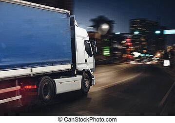 ville, jeûne, livrer, camion, nuit, route