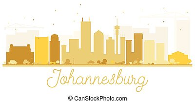 ville, johannesburg, doré, horizon, silhouette.