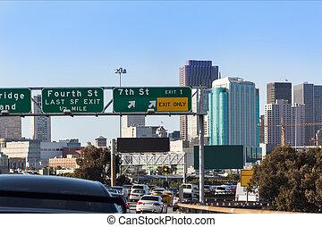 ville, jonc, francisco, san, heure, en ville, horizon, trafic