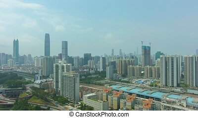 ville, jour ensoleillé, shenzhen
