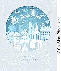 ville, joyeux, claus, ciel, santa, noël carte, hiver