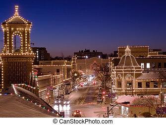 ville, kansas, place, lumières