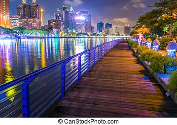 ville, -, kaohsiung, nuit, taiwan, vue
