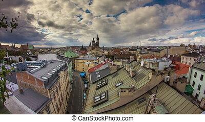 ville, krakow, aérien, pologne, timelapse, vue