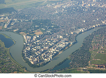 ville, kuban, krasnodar, rivière, russie