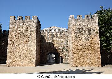 ville, lagos, vieux, portugal, portail