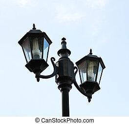 ville, lampe, vieux, isolé, ciel
