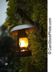 ville, lampe, vieux, pluie